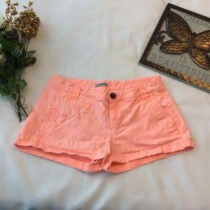 Express Bright Orange Mini Shorts 2 Chino Stretch